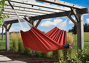 Vivere Outdoor Double Brazilian Sunbrella Hammock Crimson, Crimson, rollover