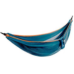 Vivere Outdoor Double Polyester Mesh Hammock Blue and Orange, Blue/Orange, large