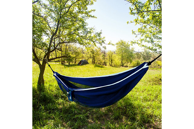 Vivere Outdoor Double Polyester Mesh Hammock Navy and Turquoise, Navy/Turquoise, large