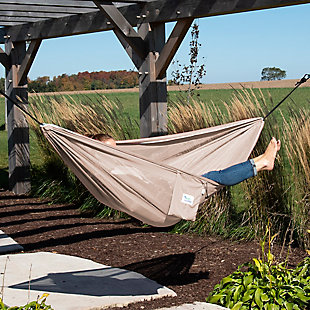 Vivere Outdoor Double Polyester Mesh Hammock Sand and Sky, , rollover