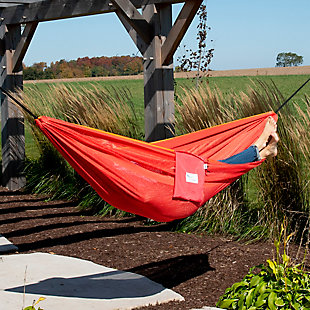 Vivere Outdoor Double Polyester Mesh Hammock Punch and Peach, Punch/Peach, rollover
