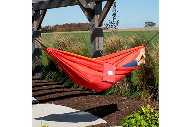 Vivere Outdoor Double Polyester Mesh Hammock Punch and Peach, Punch/Peach, large