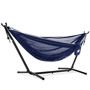 Vivere 9' Outdoor Mesh Hammock Combo Navy and Turquoise, , large