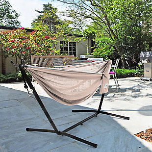 Vivere 9' Outdoor Mesh Hammock Combo Sand and Sky, , rollover