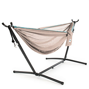 Vivere 9' Outdoor Mesh Hammock Combo Sand and Sky, , large