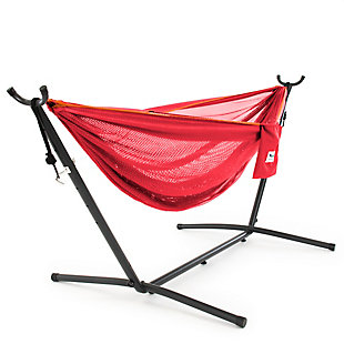 Vivere 9' Outdoor Mesh Hammock Combo Punch and Peach, Punch/Peach, large