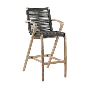 Brielle Outdoor Light Eucalyptus Wood and Charcoal Rope Counter and Bar Height Stool, , large