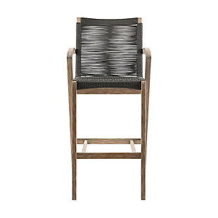 Brielle Outdoor Light Eucalyptus Wood and Charcoal Rope Counter and Bar Height Stool, Charcoal, large