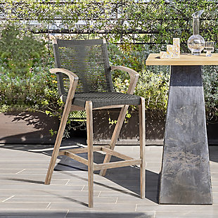 Brielle Outdoor Light Eucalyptus Wood and Charcoal Rope Counter and Bar Height Stool, , rollover