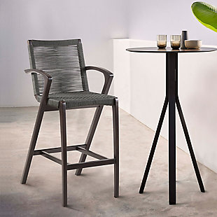 Brielle Outdoor Dark Eucalyptus Wood and Gray Rope Counter and Bar Height Stool, , rollover