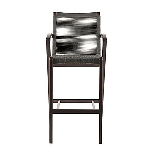 Brielle Outdoor Dark Eucalyptus Wood and Gray Rope Counter and Bar Height Stool, Gray, large