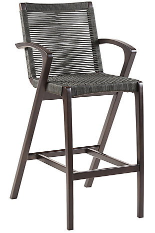 Brielle Outdoor Dark Eucalyptus Wood and Gray Rope Counter and Bar Height Stool, , large