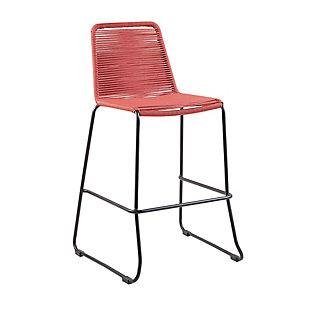 "Shasta 30"" and 26"" Outdoor Metal and Rope Stackable Barstool, Brick Red, large"