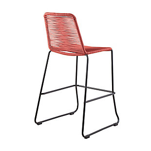 """Shasta 30"""" and 26"""" Outdoor Metal and Rope Stackable Barstool, Brick Red, large"""