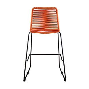"""Shasta 30"""" and 26"""" Outdoor Metal and Rope Stackable Barstool, Tangerine Orange, large"""