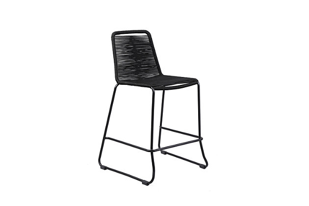 """Shasta 30"""" Outdoor Metal and Black Rope Stackable Barstool, Black, large"""