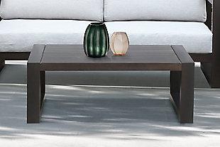 Paradise Outdoor Dark Eucalyptus Wood Coffee Table, Dark Brown, rollover