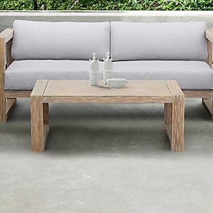 Paradise Outdoor Light Eucalyptus Wood Coffee Table, Light Brown, large