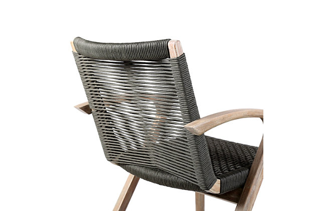 Brielle Outdoor Light Eucalyptus Wood and Charcoal Rope Dining Chairs (Set of 2), Charcoal, large
