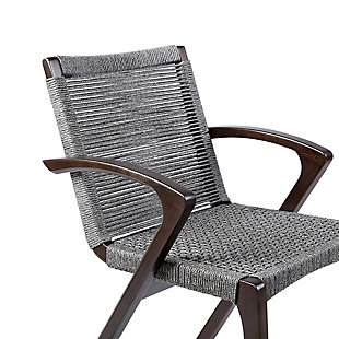Brielle Outdoor Dark Eucalyptus Wood and Gray Rope Dining Chairs (Set of 2), Gray, large