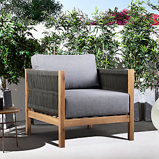 Sienna Outdoor Eucalyptus Lounge Chair in Teak Finish with Gray Cushions, , rollover