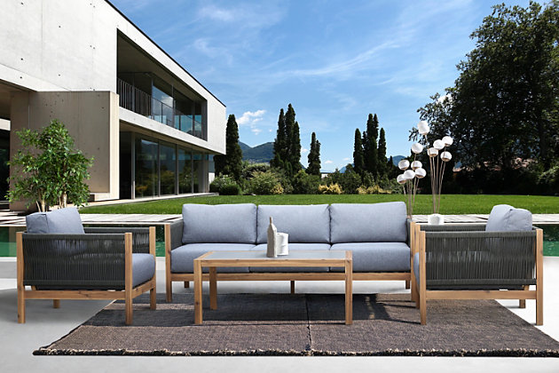 Sienna Outdoor Coffee Table with Teak Finish and Stone Top, , large