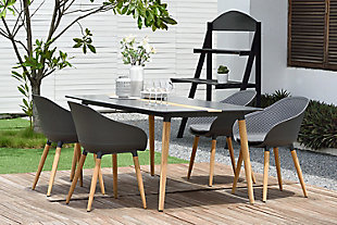 Ipanema Outdoor Dining Chair in Black Finish with Wood Legs, , rollover