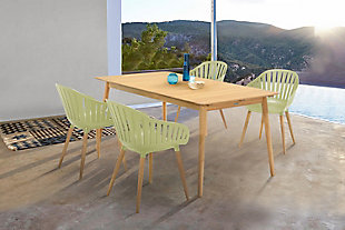 Nassau Outdoor Rectangle Dining Table in Natural Wood Finish, , rollover