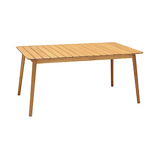 Nassau Outdoor Rectangle Dining Table in Natural Wood Finish, , large