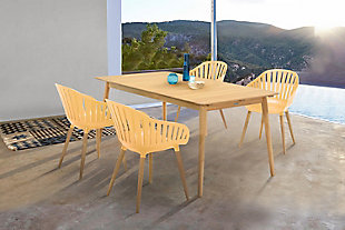 Nassau 5-Piece Outdoor Natural Wood Finish Table and Honey Yellow Arm Chairs Dining Set, Honey, rollover
