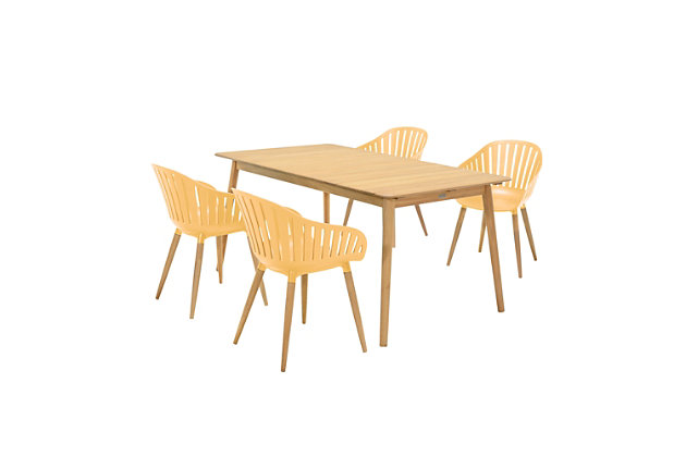 Nassau 5-Piece Outdoor Natural Wood Finish Table and Honey Yellow Arm Chairs Dining Set, Honey, large
