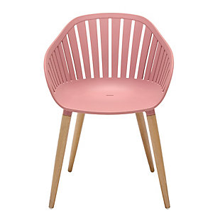 Nassau 5-Piece Outdoor Natural Wood Finish Table and Pink Peony Arm Chairs Dining Set, Peony, large