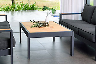 Palau Outdoor Coffee Table in Dark Gray with Natural Teak Wood Top, , rollover