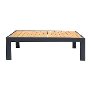 Palau Outdoor Coffee Table in Dark Gray with Natural Teak Wood Top, , large