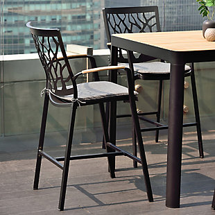Portals Outdoor Square Bar Table in Natural Teak Wood Top and Black Frame, Gray/Natural, rollover
