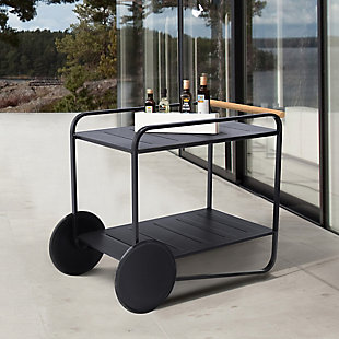 Portals Outdoor Accent Cart in Black Finish and Natural Teak Wood Accent, , rollover