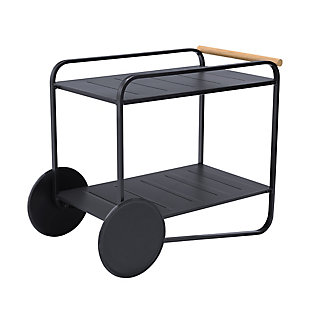 Portals Outdoor Accent Cart in Black Finish and Natural Teak Wood Accent, , large