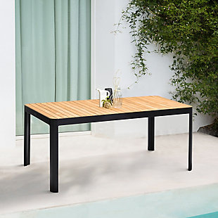 Portals Outdoor Rectangle Dining Table in Black Finish with Natural Teak Wood Top, , rollover