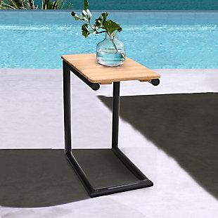 Portals Outdoor C-Shape Side Table in Black Finish and Natural Teak Wood Top, Black/Teak, rollover