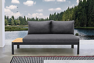 Portals Outdoor Sofa in Black Finish with Natural Teak Wood Accent and Gray Cushions, , rollover