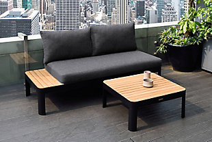 Portals Outdoor Square Coffee Table in Black Finish with Natural Teak Wood Top, Black/Teak, rollover