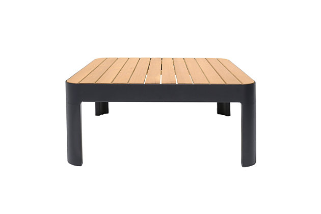 Portals Outdoor Square Coffee Table in Black Finish with Natural Teak Wood Top, Black/Teak, large