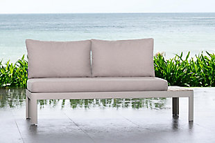 Portals Outdoor Sofa in Light Matte Sand Finish with Natural Teak Wood and Beige Cushions, , rollover