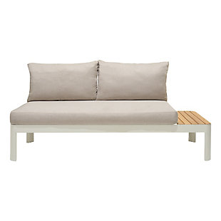 Portals Outdoor Sofa in Light Matte Sand Finish with Natural Teak Wood and Beige Cushions, , large