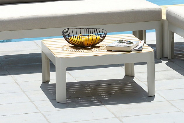 Portals Outdoor Square Coffee Table in Light Matte Sand Finish with Natural Teak Wood Top, Sand, large