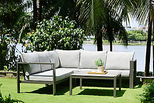 Solana Outdoor Square Coffee Table in Cosmos Gray Finish with Wood Top, , rollover