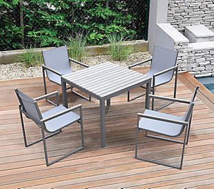 Bistro Outdoor Dining Chair in Powder Coated Finish with Gray Wood Accent Arms  (Set of 2), , rollover