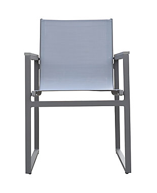 Bistro Outdoor Dining Chair in Powder Coated Finish with Gray Wood Accent Arms  (Set of 2), , large