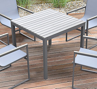 Bistro Outdoor Dining Table in Gray Powder Coated Finish with Gray Wood Top, , rollover