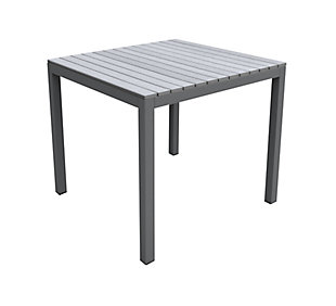 Bistro Outdoor Dining Table in Gray Powder Coated Finish with Gray Wood Top, , large